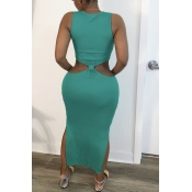 lovely Trendy Hollow-out Green Ankle Length Dress