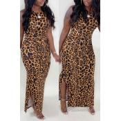 lovely Trendy Leopard Print Brown Ankle Length Dre