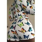 lovely Trendy Butterfly Print Multicolor Plus Size