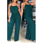 lovely Sexy Lace-up Green One-piece Jumpsuit