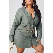 lovely Casual Buttons Design Army Green Plus Size
