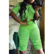 lovely Casual Fold Design Green Plus Size Two-piec