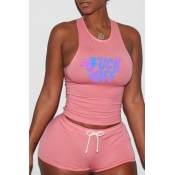 lovely Sportswear Letter Print Pink Two-piece Shor