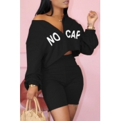 Lovely Sportswear Letter Zipper Design Black Two-piece Shorts Set