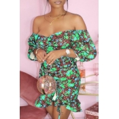 lovely Trendy Dew Shoulder Floral Print Green Mini Dress