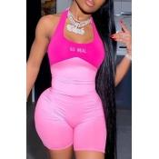 lovely Sportswear Patchwork Pink One-piece Romper