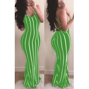 lovely Sexy Striped Green Maxi Dress