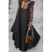 lovely Sweet Dot Print Black Maxi Plus Size Dress