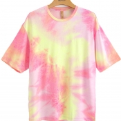 lovely Casual O Neck Tie-dye Pink T-shirt