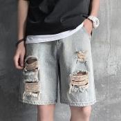lovely Street Broken Holes Khaki Shorts