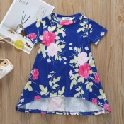lovely Casual Plants Print Blue Girl Ankle Length