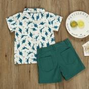 lovely Leisure Turndown Collar Print Green Boy Two