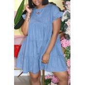 Lovely Sweet O Neck Fold Design Blue Mini Denim Dress