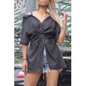 lovely Stylish Knot Design Black Blouse