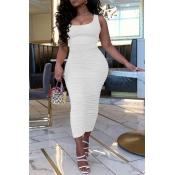 lovely Leisure Fold Design White Ankle Length Dres