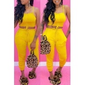 lovely Sexy Lace-up Yellow Two-piece Pants Set