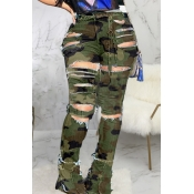 lovely Stylish Camo Print Plus Size Jeans