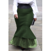 lovely Trendy Patchwork Green Plus Size Skirt