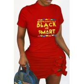 Lovely Casual Letter Print Red Mini Plus Size Dre