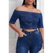 Lovely Trendy Buttons Design Deep Blue Blouse