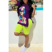 Lovely Casual O Neck Print Purple Two-piece Shorts Set