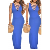 lovely Sexy Hollow-out Deep Blue Maxi Dress