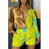 lovely Casual Print Patchwork Yellow Two-piece Sho