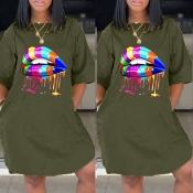 lovely Casual Lip Print Army GreenKnee Length Dre