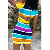 Lovely Casual Rainbow Striped Multicolor Mini Dres