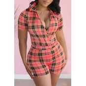 lovely Leisure Grid Print Light Pink One-piece Rom