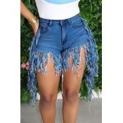 lovely Casual Tassel Design Blue Denim Shorts