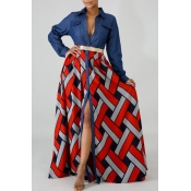 lovely Casual Print Patchwork Red Maxi Dress