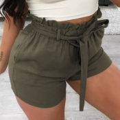 Lovely Casual Lace-up Army GreenShorts