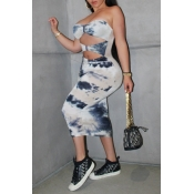 lovely Casual Dew Shoulder Print White Mid Calf Dr
