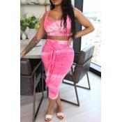 lovely Stylish Tie-dye Pink Two-piece Skirt Set