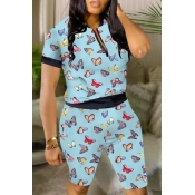 lovely Casual Butterfly Print Blue Two-piece Shor