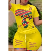 lovely Leisure Print Patchwork Yellow Two-piece Sh