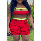 lovely Casual Letter Print Red Two-piece Shorts Se