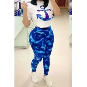 lovely Casual O Neck Print Blue Two-piece Pants Set