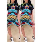 lovely Casual O Neck Tie-dye Multicolor Two-piece