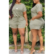 Lovely Casual Striped Green Plus Size Two-piece Shorts Set(Batch Print)