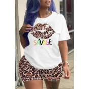 lovely Leisure Leopard Print Plus Size Two-piece S