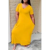 lovely Casual V Neck Basic Yellow Ankle Length Dre