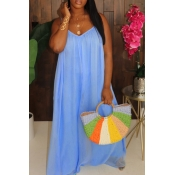 lovely Casual Loose Fold Design Blue Maxi Dress