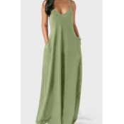 Lovely Leisure Pocket Patched Light Green Maxi Dre