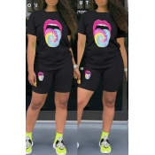 lovely Casual Lip Print Black Two-piece Shorts Set