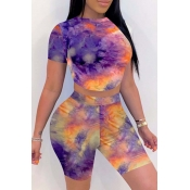 lovely Casual O Neck Tie-dye Purple Two-piece Shor