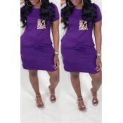 lovely Casual O Neck Pocket Patched Purple Knee Le