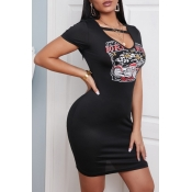 lovely Casual Print Black Mini Dress