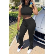 lovely Casual Fold Design Black Two-piece Pants Set